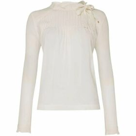 Suncoo Luiz High Neck Long Sleeved Blouse With Tie