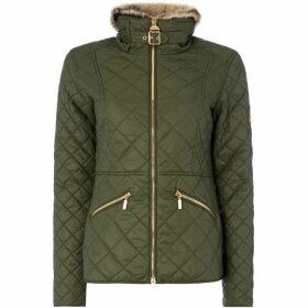 Barbour International Corner Quilted Faux Fur Jacket