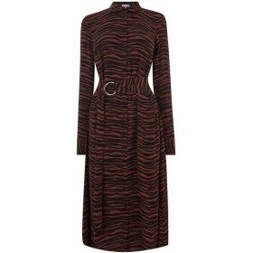 Warehouse Tiger O-Ring Midi Shirt Dress