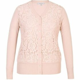 Chesca Corded Lace Trim Cardigan