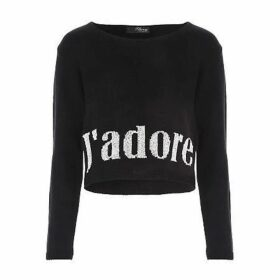 Jane Norman Black J`Adore Slogan Jumper