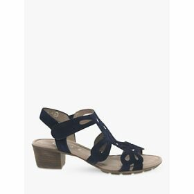 Gabor Holycron Suede Cut Out Heeled Sandals, Navy