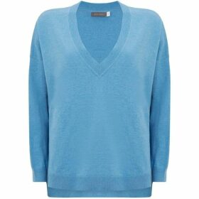 Mint Velvet Blue Metallic V-Neck Knit