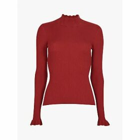 Ted Baker Albaai Ribbed Ruffle Detail Jumper, Dark Orange