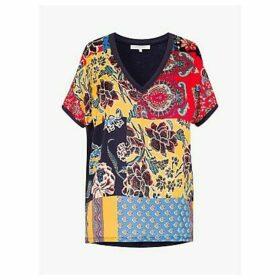 Gerard Darel Joelles Floral Paisley T-Shirt, Navy/Multi
