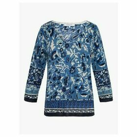 Gerard Darel Enziona Linen Cotton Floral Top, Blue