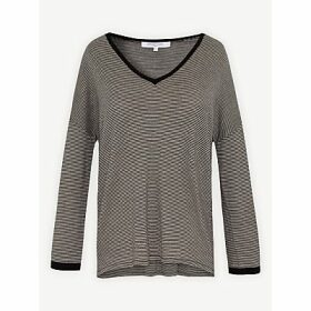 Gerard Darel Emerenziana Striped V-Neck Wool Jumper, Black