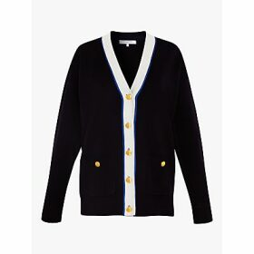 Gerard Darel Eleonora Stripe Button Placket V Neck Cardigan, Navy