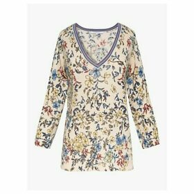 Gerard Darel Estelle Floral Linen Cotton Top, Ecru