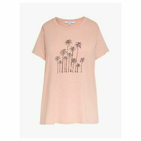 Gerard Darel Jerry Palm Tree Beaded T-Shirt, Pink