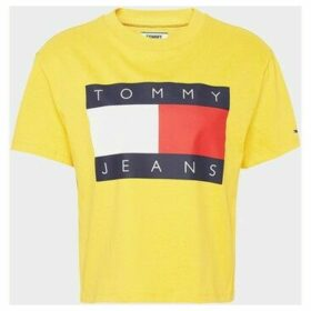 Tommy Jeans  DW0DW07153 FLAG TEE  women's T shirt in Yellow