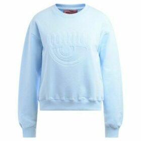 Chiara Ferragni  Felpa Chiara Ferrani in cotone azzurro con logo flirting  women's Sweatshirt in Blue