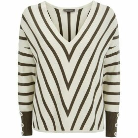 Mint Velvet Khaki Chevron Stripe Knit