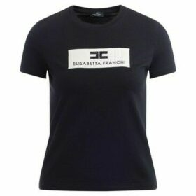 Elisabetta Franchi  t-shirt in black cotton with double C  women's T shirt in Black