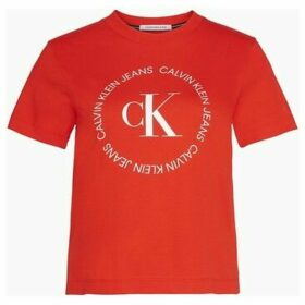 Calvin Klein Jeans  J20J213544 ROUND LOGO  women's T shirt in Red