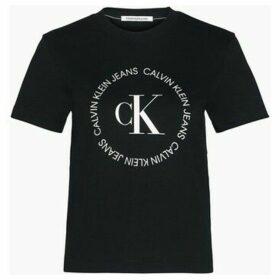 Calvin Klein Jeans  J20J213544 ROUND LOGO  women's T shirt in Black