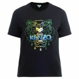 Kenzo  Tigre black cotton t shirt with multicolor logo  women's T shirt in Black