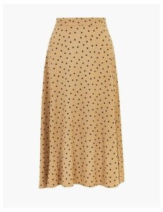 M&S Collection Polka Dot Fit & Flare Midi Skirt