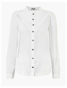 M&S Collection Cotton Polka Dot Ruffle Blouse