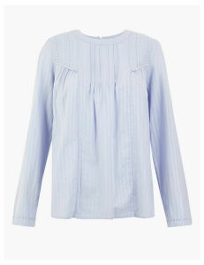 M&S Collection Pure Cotton Striped Blouse