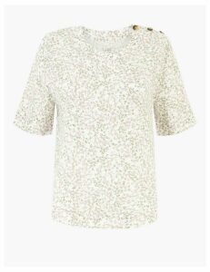 M&S Collection Pure Linen Floral Print Woven Blouse