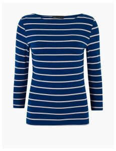 M&S Collection Cotton Rich Striped Long Sleeve Top