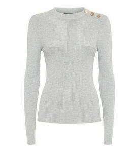Pale Grey High Neck Button Shoulder Jumper New Look
