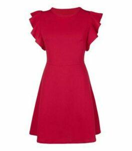 Mela Red Ruffle Sleeve Skater Dress New Look