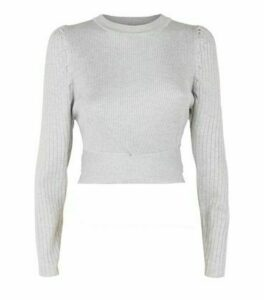Cameo Rose Pale Grey Puff Sleeve Jumper New Look