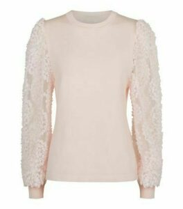 Cameo Rose Pale Pink 3D Floral Puff Sleeve Jumper New Look