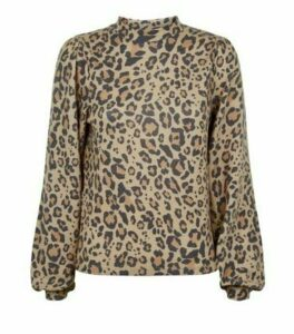 Brown Leopard Print Fine Knit Puff Sleeve Top New Look