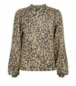Brown Leopard Print Fine Knit Puff Sleeve Top New Look