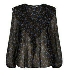 Black Floral Chiffon Ruffle Trim Blouse New Look