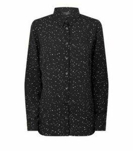 Petite Black Spot Long Sleeve Chiffon Shirt New Look