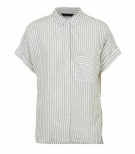 Khaki Stripe Pocket Front Short Sleeve Shirt New Look