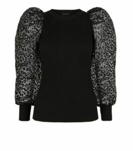 Black Leopard Organza Puff Sleeve Jumper New Look