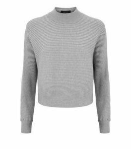 Pale Grey Ribbed Batwing Jumper New Look