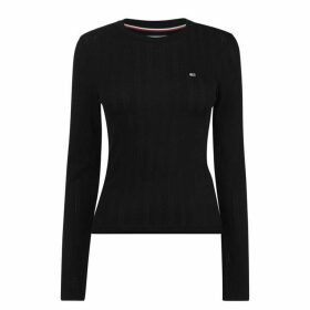 Tommy Jeans Long Sleeve Logo Knit Top - TOMMY BLACK