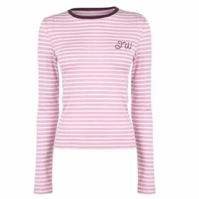 Jack Wills Kewstoke Stripe Long Sleeve T-Shirt - Dusky Pink