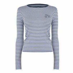 Jack Wills Kewstoke Stripe Long Sleeve T-Shirt - Dusk Blue