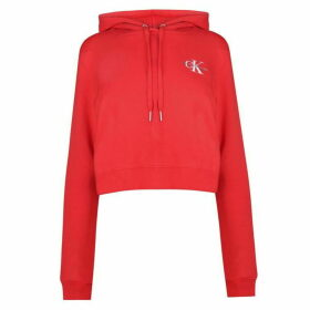 Calvin Klein Jeans Monogram Cropped Hoodie Womens - Racing Red