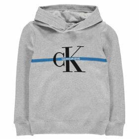 Calvin Klein Jeans Logo Stripe Hoodie - Light Grey