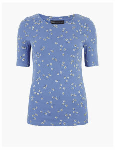 M&S Collection Pure Cotton Floral Print Regular Fit T-Shirt