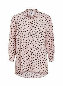Pink Heart Print Shirt, Blush