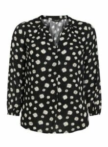 Black Daisy Print Blouse, Black
