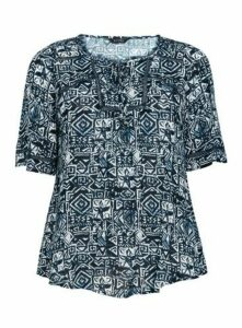 Navy Blue Aztec Print Crochet Insert Top, Navy