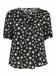 Black Daisy Print Crochet Top, Black