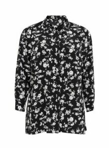 Black Monochrome Floral Shirt, Black/White