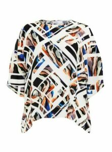 Ivory Abstract Print Top, Dark Multi