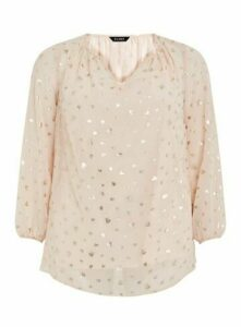 Blush Foil V -Neck Top, Blush